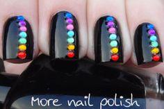 More Nail Polish: Black with Rainbow Rhinestones