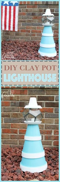 Make an adorable coastal themed lighthouse from clay pots! Painted terra cotta pots make the perfect beach themed lighthouse to decorate a mantel, side table, coffee table, or even outside in your garden. Lights up too!