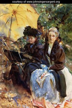 John Singer Sargent ~ Miss Wedewood and Miss Sargent Sketching
