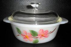 Vintage Casserole Dish, Fire King, Desert Rose, Pink, Floral, #445, Fire King Dish, Anchor Hocking, Casserole Bowl, 1 Pint