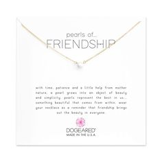 Dogeared Pearls of Happiness White Pearl Necklace, Gold Dipped