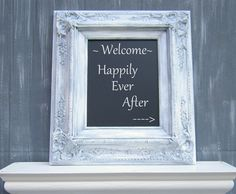 RUSTIC WEDDING DECOR Gray Vintage Wedding Ideas Engagement Gift Bridal Shower French Country Kitchen Ornate Blackboard Shabby Chic Decor. $64.00, via Etsy.