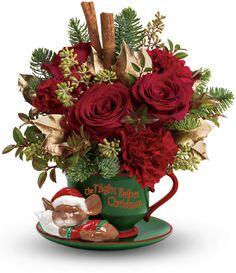 flores rojas, palitos de canela...
