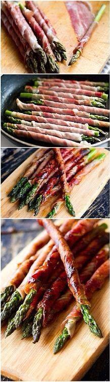 Prosiutto wrapped asparagus