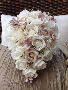 CHAMPAGNE BEIGE IVORY PEARLS ROSES SMALL TEARDROP BOUQUET BRIDES WEDDING FLOWERS http://ebay.to/28N4AeO