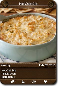 Hot Crab Dip - Paula Deen Ingredients ...