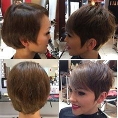 My new, cute short hair cut! You have to trim the bottom as your hair grows out or you'll just grow out a mullet! @Philip Wolff  is so amazing and made my #pixie #shorthairstyle cute again