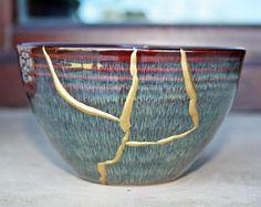Kintsugi bowl, kintsugi cerámica esmalte Kintsugi, Serving Bowls, Tableware, Etsy, Enamel, Tents, Dinnerware, Tablewares, Place Settings
