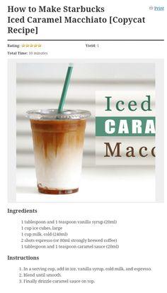 Ninja Coffee Bar Recipes, Coffee Drink Recipes, Starbucks Recipes, Starbucks Drinks, Starbucks Coffee, Iced Coffee Drinks, Coffee Menu, Coffee Cafe, Homemade Iced Coffee