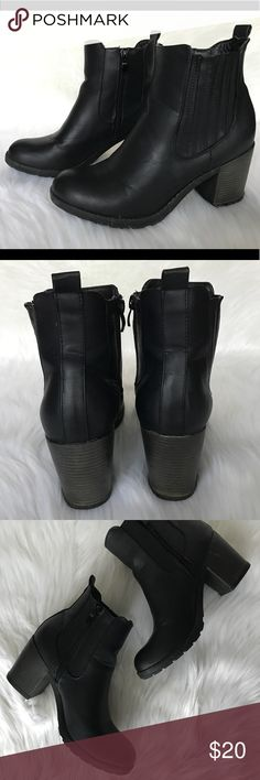 """MIA Black Combat Boots - Block Heel Booties 4"""" Heel. Preowned with signs of wear/minor scuffing. Mia Shoes Ankle Boots & Booties"""
