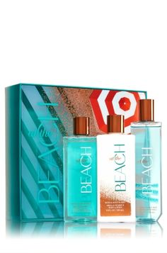 At The Beach - Beach-Ready Gift Set - Bath & Body Works - This tropical assortment is packaged in a shimmering box covered in beach vibes and perfect for the glamorous girl in your life. This generous set contains super-lathering Shower Gel (8 fl oz), hydrating Body Lotion (8 fl oz) and skin-loving Fine Fragrance Mist (8 fl oz) all in our NEW At The Beach fragrance!