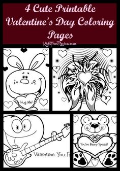 4 Cute KIds Printable Valentines Day Coloring Pages