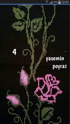 This Pin was discovered by Lal Cross Stitch Rose, Cross Stitch Flowers, Cross Stitch Embroidery, Cross Stitch Patterns, Creative Embroidery, Blackwork, Needlepoint, Diy And Crafts, Sewing