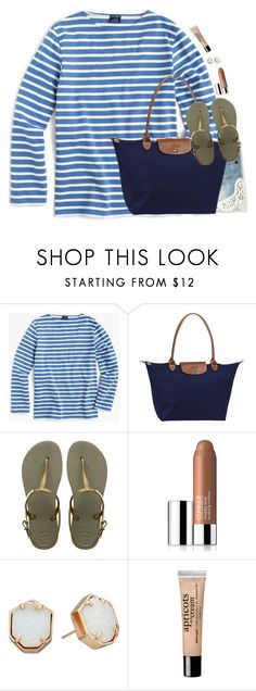 """""""Should I Post More?"""" by southernstylish ❤ liked on Polyvore featuring J.Crew, Longchamp, Havaianas, Clinique, Kendra Scott and philosophy"""