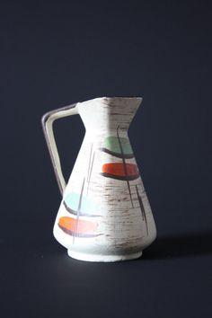 Items similar to Bay Keramik West German mini hand painted vase with handle on Etsy Ceramic Jugs, Mini Hands, Googie, Decoration, Mid-century Modern, Bottles, German, Vintage Fashion, Mid Century