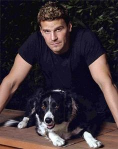 David Boreanaz for the Buffy and Angel fans David Boreanaz, Hollywood, Buffy The Vampire Slayer, Cute Gay, Mans Best Friend, Animals Beautiful, Beautiful Men, Favorite Tv Shows, Dogs And Puppies