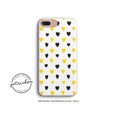 Yellow Heart iPhone Cases - iPhone Cases - iPhone 6 Cases - iPhone 7 Cases - iPhone 8 Cases - iPhone X Cases - iPhone Plus Cases A by PetrichorCases on Etsy Pink Phone Cases, Iphone 6 Cases, Iphone 8, Yellow, Heart, Etsy, Hearts, Gold
