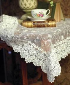 vintage lace, a good read and a cup of tea