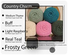 Country Charm Inspired Colours - several color combination ideas - this is a good place to start your afghan