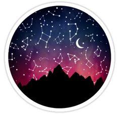 'A Stargazing Sunset' Sticker by John Longtin Cute Laptop Stickers, Cool Stickers, Funny Stickers, Printable Stickers, Tumblr Stickers, Anime Stickers, Kawaii Stickers, Journal Stickers, Planner Stickers