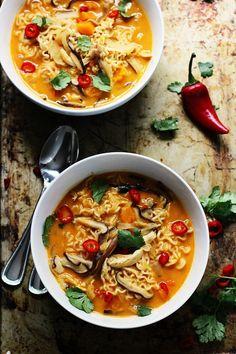 Spicy Thai-Style Pumpkin and Butternut Ramen - Cooking for Keeps Pumpkin Recipes, Fall Recipes, Asian Recipes, Soup Recipes, Vegetarian Recipes, Dinner Recipes, Cooking Recipes, Healthy Recipes, Ethnic Recipes