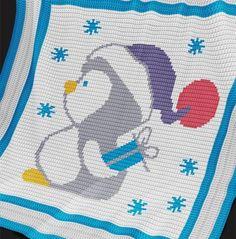 Crochet Pattern | Baby Blanket / Afghan - Christmas Penguin