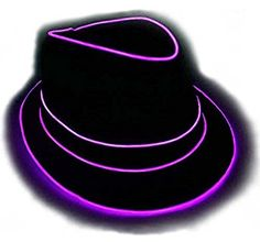 Premium Light Up Fedora Hat, Uses High Quality EL Wire, By GlowCity under $35 dollars on amazon. Fedora Hat, Light Up, Fashion Brands, Topshop, Trending Outfits, Purple, Unique Jewelry, Hats, Handmade Gifts