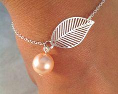 Sterling silver bracelet Simple filigree leafs falling by jochec