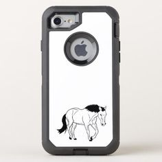 horse-outline OtterBox defender iPhone 8/7 case - horse animal horses riding freedom