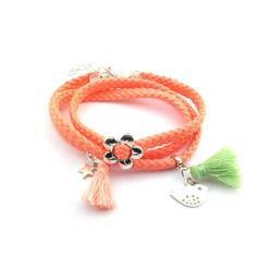 Bracelet saumoné à pompons pastels