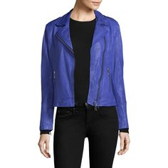 Doma Classic Leather Moto Jacket ($650) ❤ liked on Polyvore featuring outerwear, jackets, blue moto jacket, real leather jackets, genuine leather jackets, fleece-lined jackets and blue motorcycle jacket