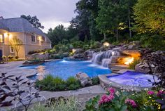 You are able to completely change your backyard into an awesome natural pool with exceptional water features. A natural pool design is a significant extension to your property. Swimming Pool Waterfall, Swimming Pool Landscaping, Natural Swimming Pools, Swimming Pool Designs, Landscaping Ideas, Backyard Landscaping, Rock Waterfall, Swimming Ponds, Small Waterfall