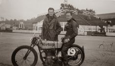 Noel Pope on a Norton at Brooklands, 1936.