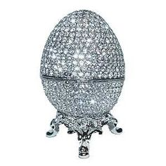 Faberge Egg Box Platinum Colored Swarovski Crystals    I want this!! The best little bedside table pill box ever.