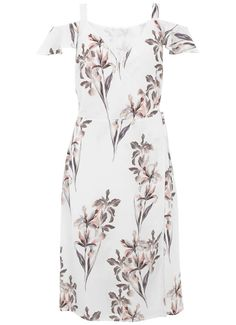 Pretty soft pink and purple floral printed dress for an occasion is this flattering wrap design featuring cold shoulder detailing. Model is 5'10in and wears a UK size 10. The length from the side neck point to the hem measures 105.5cm/41.5in.
