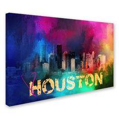 Trademark Art  Sending Love to Houston  Graphic Art Print on Wrapped Canvas  Size  H TownCanvas ... e1f5054fb