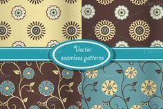 4 vector vintage floral patterns by AlexaVectorDesign on Creative Market