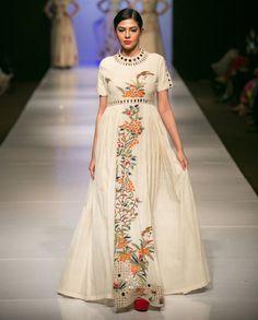 Off White Parsi Work Dress - Purvi Doshi - Designers