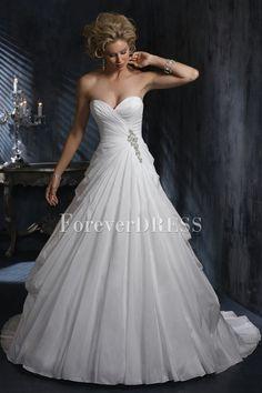 Ball Gown Wedding Dresses Sweetheart Beading Drape Court Train