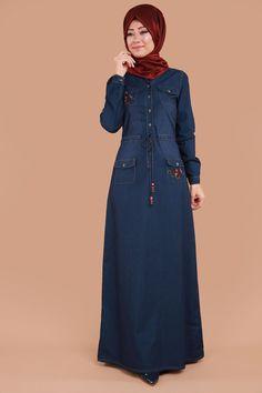 ** EN YENİLER ** Cepleri Nakışlı Düğmeli Elbise Koyu Kot Ürün Kodu: MZ9200 --> 1-19.90 TL