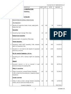 Elemental Bill of Quantities for 3 Bedroom Apartment Block