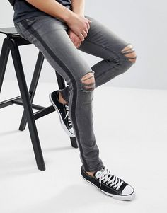 31e0ff031c6 ASOS Slim Jeans In Washed Black With Side Stripe Taxis