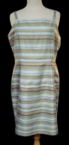 Casual Corner Pastel Stripes Sleeveless Silk Dress Sz 14 Knee Length All Season  #Casual #Sheath #Cocktail #career #fashion #style #unique #silk