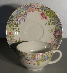 NEW Breakfast Cup & Saucer Millefleurs Pattern  GIEN