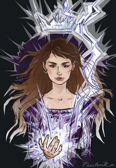 "Mare/ Mareena (""Red Queen"" by Victoria Aveyard) little lightening girl art by Phantomrim"
