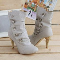 These sexy high heel boots features pleated and rhinestones design. Made from high quality PU materials. Very fashionable, classy and elegant women boots. Ideal boot to stay sexy, nice and warm during