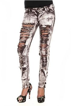 brown destroyed denim skinny jeans. http://www.hottopic.com/hottopic/Apparel/Bottoms/Brown-Destroyed-Denim-Skinny-Jeans-999636.jsp $29.50
