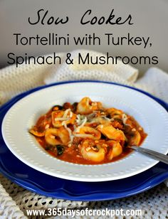 Recipe for Slow Cooker (Crock Pot) Tortellini with Spinach and Mushrooms NOTE: Sub tortellini with konjac noodles