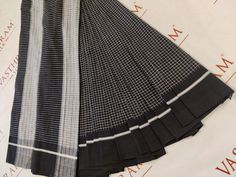 Black Cotton Saree With White Small Checks All Over And Running Blouse. cost  1700 inr Black Cotton Saree, Cotton Silk, Whatsapp Messenger, Cheer Skirts, Running, Blouse, Fashion, Moda, La Mode