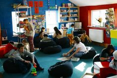 Children relaxed and absorbed in the Summerhill school cafe. (Courtesy of Summerhill School)